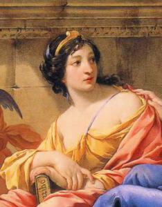 Ein Gemälde einer hübschen, schwarzhaarigen Frau in gelben und orangen Gewändern.