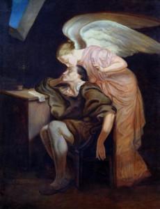 Gemälde einer geflügelten Frau, die sich über einen Schreiberling beugt und ihm die Stirn küsst.